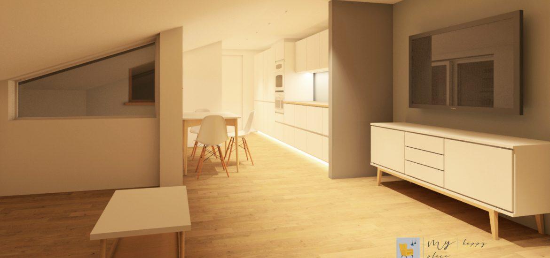 sottotetto mansarda abitabile con cucina moderna