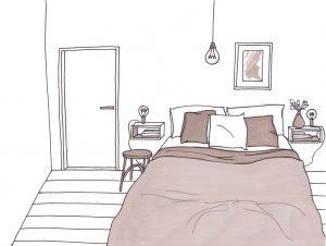 progetto camera da letto disegno