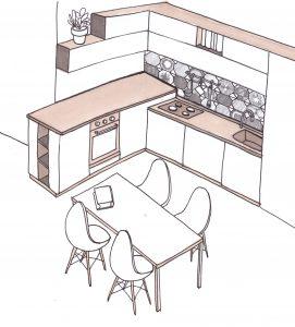 disegno progetto cucina moderna