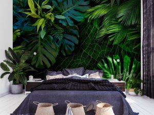 carta da parati palme jungle letto