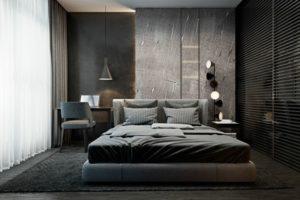 Parete divisoria in legno, testata letto in tessuto lampada sospesa tappeto peloso tinte pareti