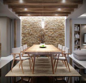 ampia zona pranzo con tavolo rettangolare in legno