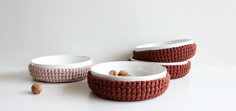 duo vaso ceramica uncinetto artful accessori per la casa