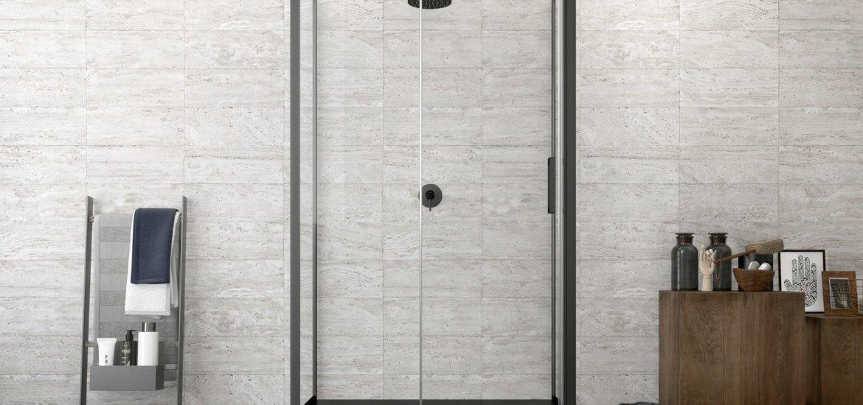 box doccia nero bagno moderno marmo