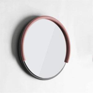 specchio rotondo rosa